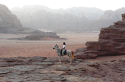 Riding towards camp in the evening - Wadi Rum