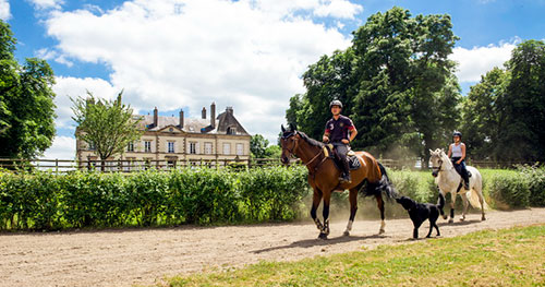Riding in the chateau grounds