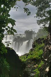 View of the Iguacu Falls in Brazil