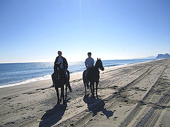 Riding on the beach near Gibraltar