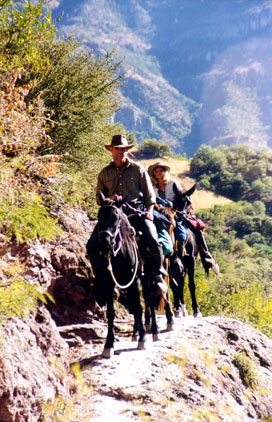 Riding along small paths in the Sierra Madre
