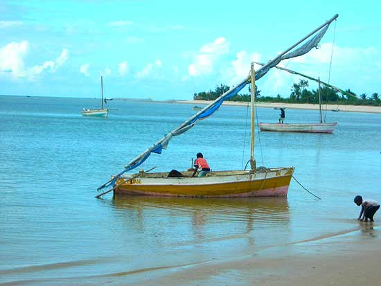 Dhow on the beach in Mozambique