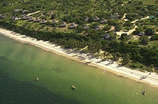 Beach chalets, arial view of location