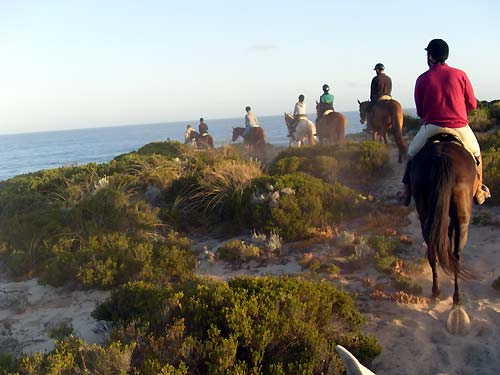 Riding over the dunes to the beach along the Dolphin Coast