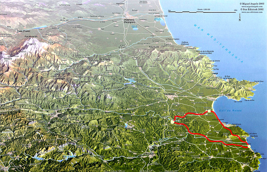 A map of the long weekend 2 beaches trail in Catalonia
