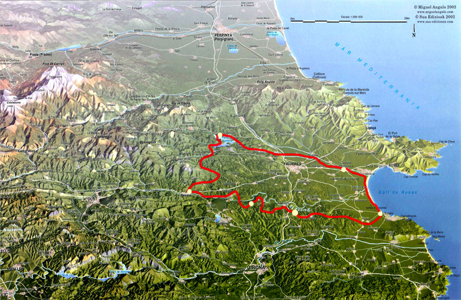 Map of Mountain to Sea route 2015