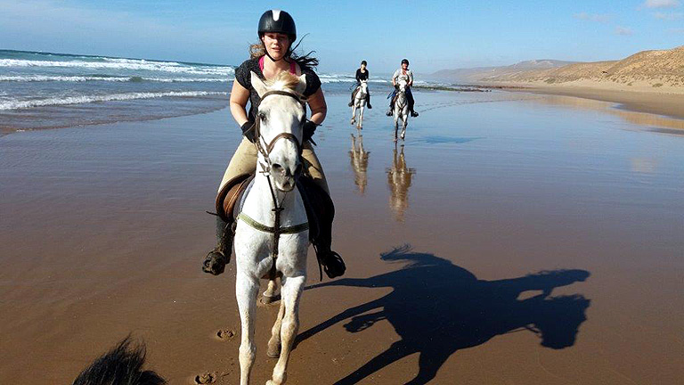 Canter on the beach in Morocco
