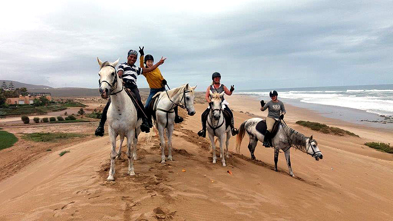our group riding the sand dunes in Morocco