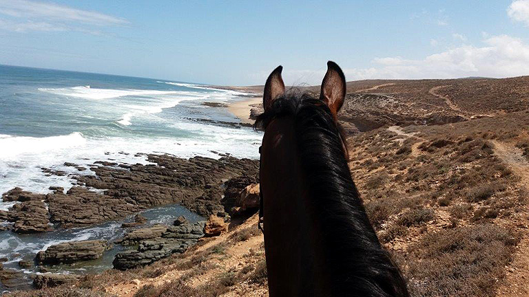 View from the top of the cliffs in Morocco on our riding holiday