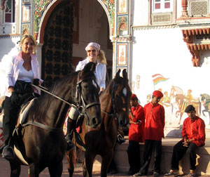 Riding Marwari horses