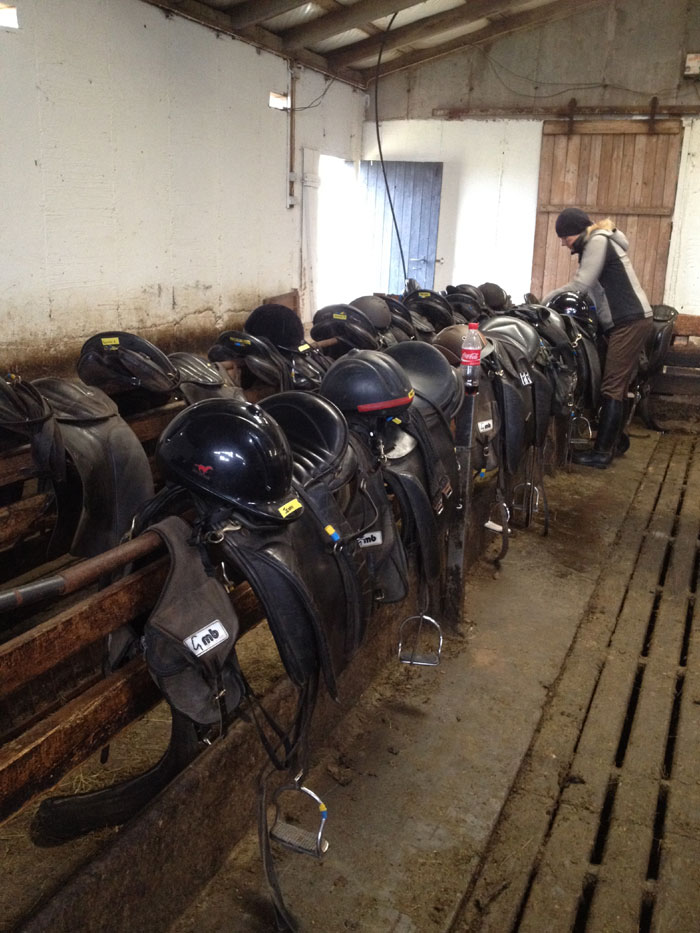 Tack lined up ready to go