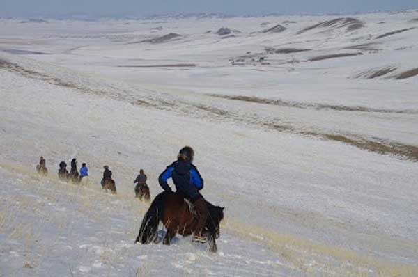 Riding on the steppe