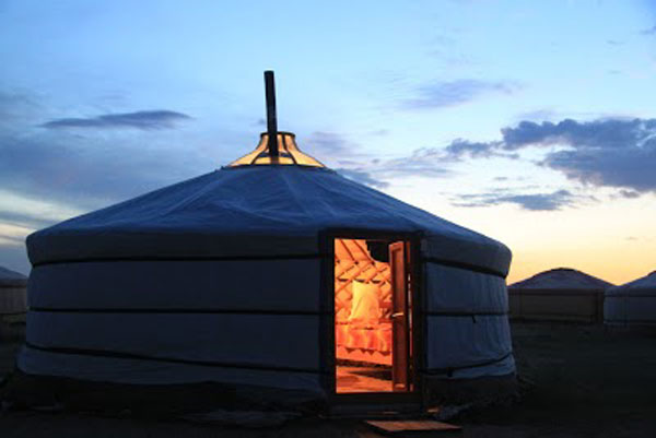 Yurts at night