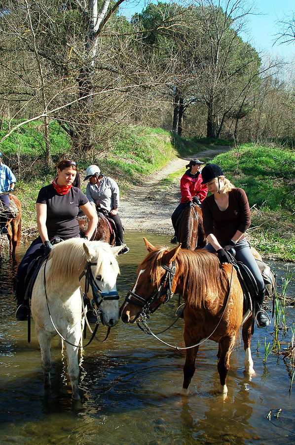 River crossing in December Catalonia riding holiday
