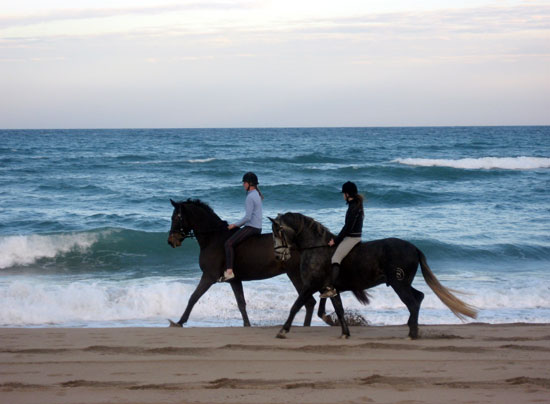 Bareback riding along the beach