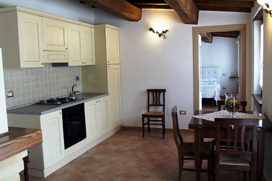 Interior view kitchenette onsite accommodation Umbria