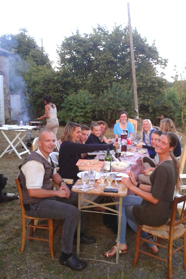 Dinner on French horse riding holiday