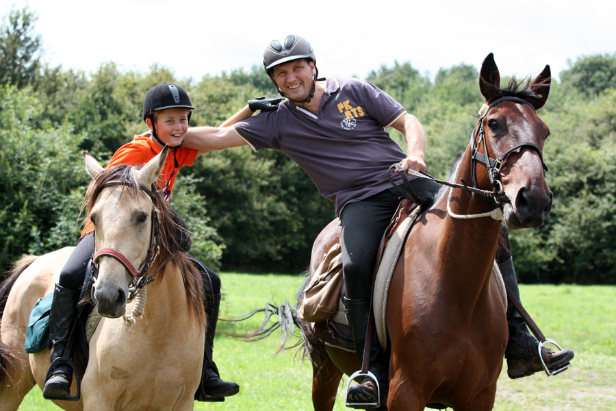 Family horse riding vacation in France