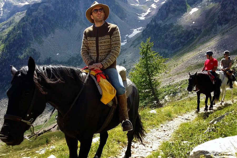 Mountain horseback trail in France