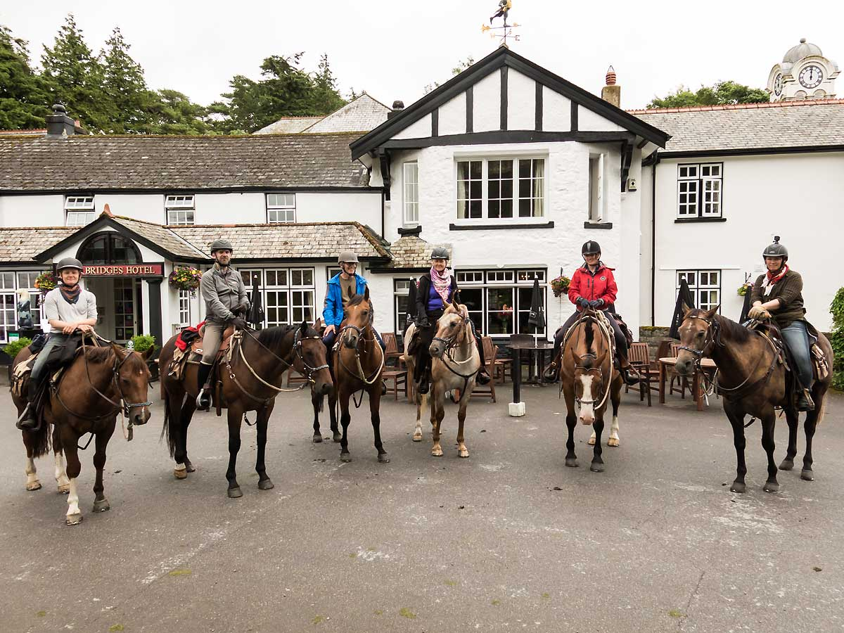 out side an old inn Dartmoor riding holiday