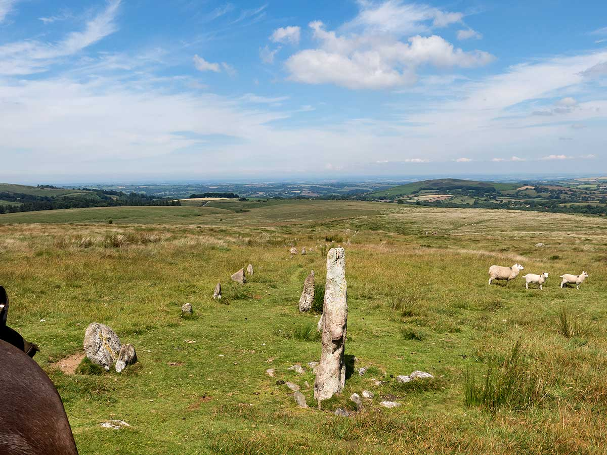 Riding along ancient stone rows on Dartmoor riding holiday