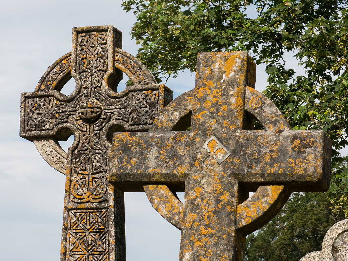 double Celtic crosses Dartmoor churchyard